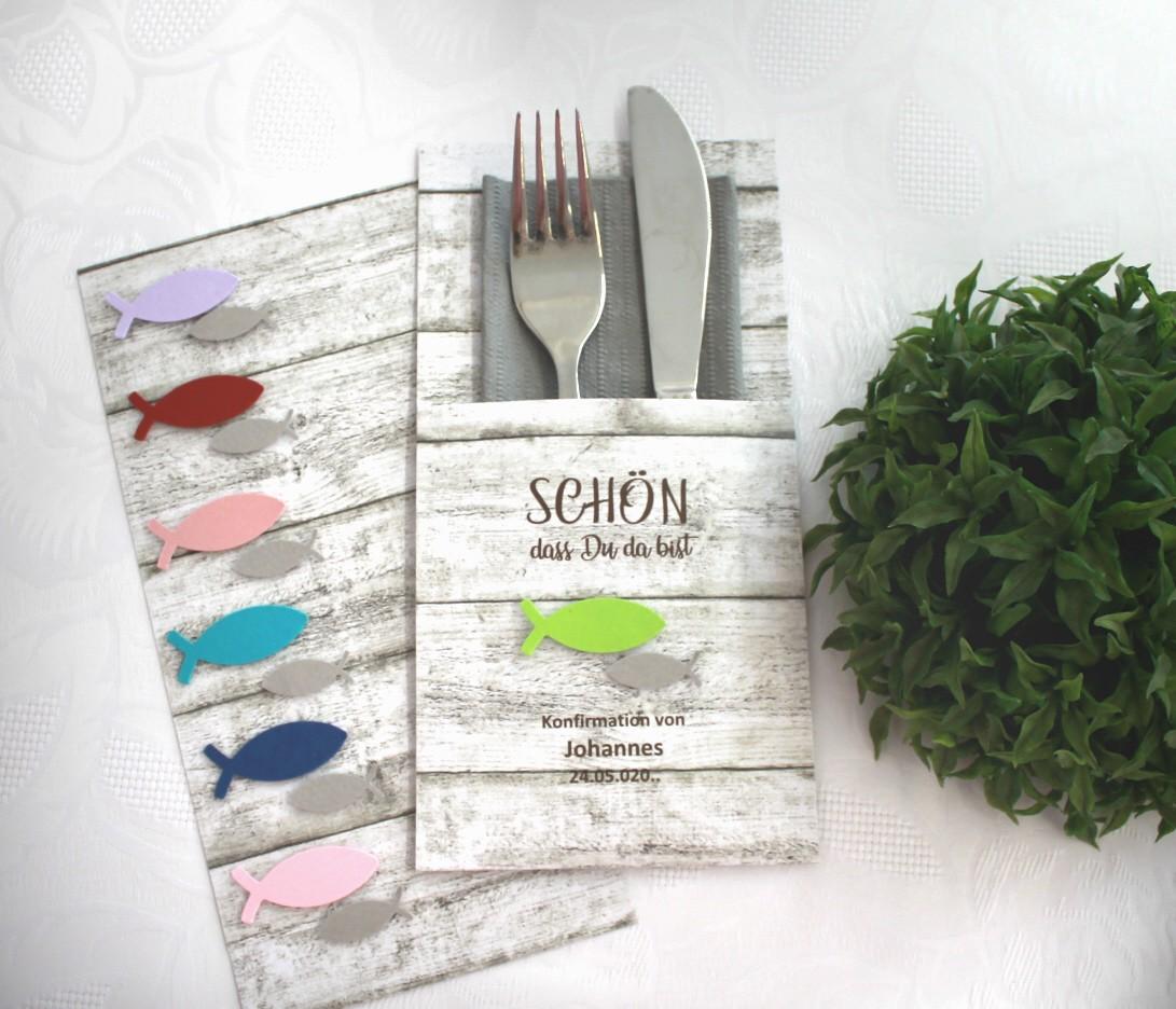personalisiert Design 5001 Die Karte Bestecktasche Holzoptik zur Konfirmation Kommunion oder Taufe Fisch in 6 Farben